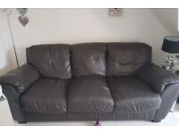 2 & 3 seater brown leather sofas FREE