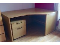 Large Oak Corner Desk with matching Filing Cabinet