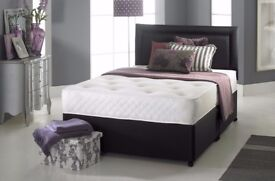 ❋★❋ BLACK , WHITE & CREAM ❋★❋ BRAND NEW DIVAN BED BASE AND MATTRESS IN SINGLE DOUBLE & KING SIZE