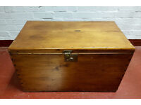 Vintage Pine Chest / Wooden Trunk /Blanket Box with Candle Drawer