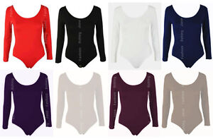Womens-Long-Sleeve-Stretch-Bodysuit-Ladies-Leotard-Body-Top-Tshirt-8-14