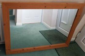 Large pine farmed mirror.
