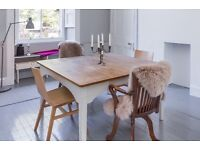 Beautiful dining table with solid oiled oak top for sale