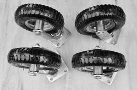 4 new pneumatic trolley wheels