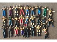 26 Wrestling figures plus cage plus 3 belts