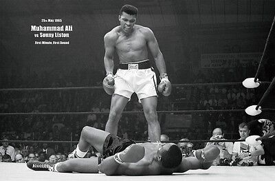 Muhammad Ali vs Sonny Liston First Minute Sports Poster Art Print 24x36 inch