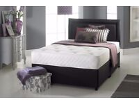 king size divan bed frame with memory foam and 2000 pocket spring mattress in black white