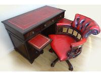 Antique Pedestal Leather Top Desk + Captains Chair - Excellent Condition