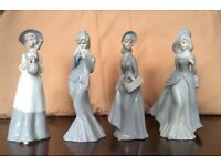 """4 CHINA LADY FIGURINES - 8"""" TALL - EXCELLENT CONDITION"""