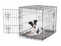 """Silver Dog Crate, small dog or puppy training with water Bowl 24"""""""