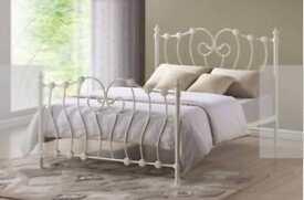 Inova Ivory Metal Bed Frame with Slumber Sleep Deluxe Double Mattress