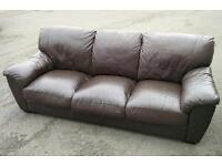 Real leather 3 seater brown sofa/ Free delivery