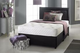 BRAND NEW - DOUBLE SMALL DOUBLE DIVAN BED WITH ROYAL SUPER ORTHOPAEDIC MATTRESS SINGLE