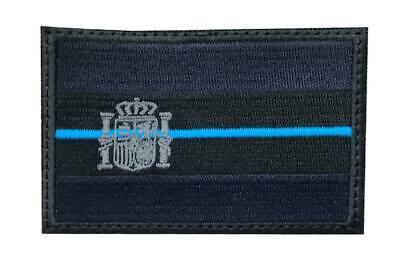 Parche Bandera España negro azul marino mate linea azul policial militar