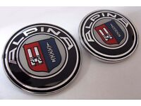 BMW ALPINA MATCHING 82mm BONNET AND 74mm BOOT BADGES - GREAT CUSTOM UPGRADE BADGE SET FOR YOUR BMW!
