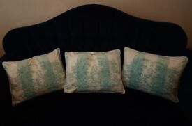 LAURA ASHLEY 3 X DUCK FILLED CUSIONS TOILE PICTURE PATTERN DUCK EGG
