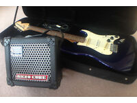 Fender Squier Stratocaster electric guitar, with case & Roland Micro Cube amplifier