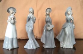 "4 PRETTY CHINA LADY FIGURINES - 8"" TALL - EXCELLENT CONDITION"