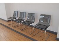 4 X Ikea Tobias Chairs In Grey And Chrome