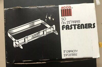Vintage Acco 50 No. 22 Prong Paper Fasteners 2 Capacity 2 34 Centers 50
