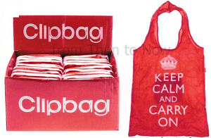 Keep-Calm-And-Carry-On-Clipbag-Folding-Shopping-Tote-Clip-Bag-Red-Reusable
