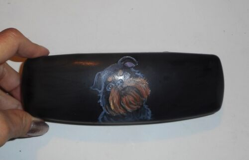 Brussels Griffon dog Hand Painted Reading Eyeglass Glasses Hard Case Black