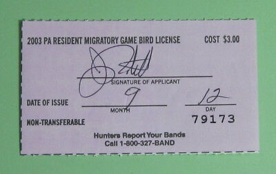 2003 Pennsylvania Resident Migratory Game Bird Hunting License Tag...Free Ship!