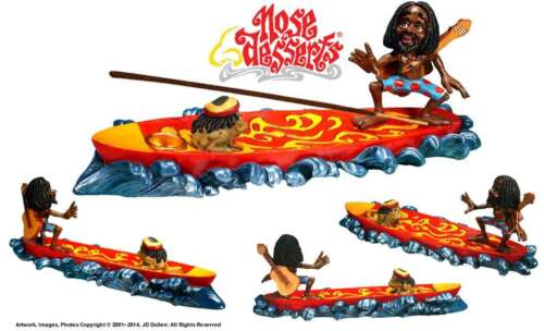 420 Surfing Rasta and Magic Frog Stick and cone Incense burner ash-catcher #2834