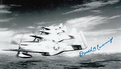 WWII ACE downed 2 German ME-262 JETS Lt. Col. D.Cummings 6.5 V, SIGNED 4x6 PHOTO