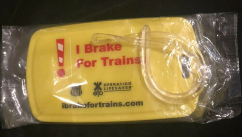 I Brake For Trains Operation Lifesaver Rectangle Yellow Luggage Tag - $6.99