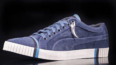 Puma AMQ Scarred SUEDE Dark Denim Shoes UK 10.5 ALEXANDER MCQUEEN 100% AUTHENTIC