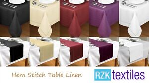 New-Hem-Stitch-Table-Cloth-Table-Runner-Many-Colours-Fine-Table-Linen