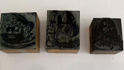Vintage Printing Letterpress Printers Block Pirates Set Of 3