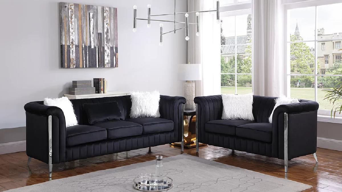 Modern Black Velvet Fabric 2PC Living Room Sofa Loveseat Set & 5 Accent Pillows