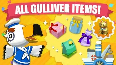 All Gulliver Items - Animal Crossing New Horizons Set of 79 + 10 NMT + 2 Royal