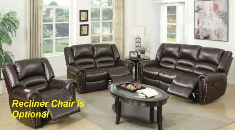 Brown Bonded Leather Reclining 2pc Sofa Set Motion Sofa & Loveseat Living Room