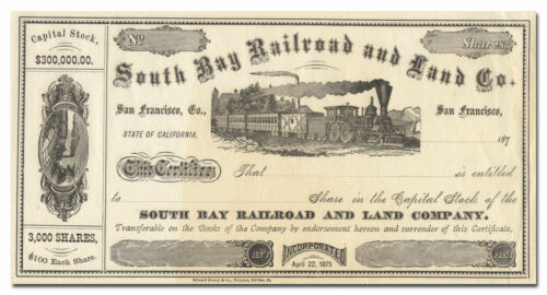 South Bay Railroad and Land Company Stock Certificate (California)