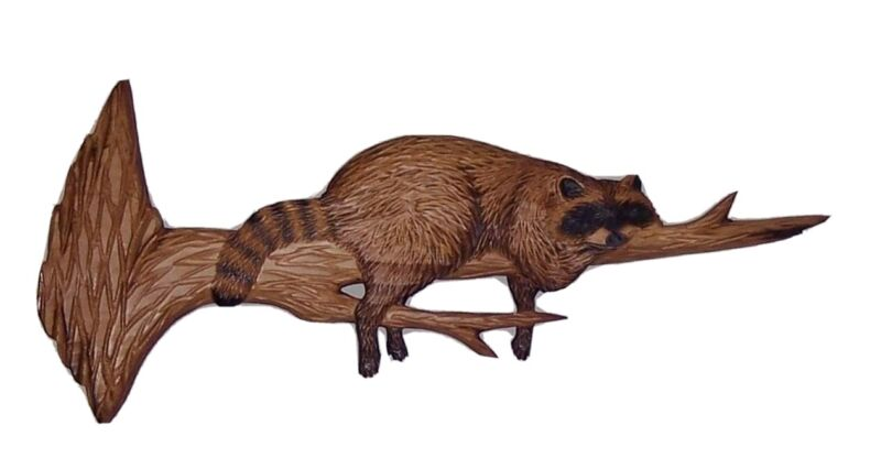 Hand Carved wood wall hanging Raccoon By Clint Wickman