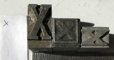 Lot Of 3 Xs Metal Printing Press Typeset Block Letters Mixed Fonts Sizes Xxx