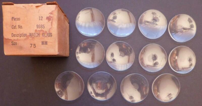 12 pcs 75mm Scientific Watch Glass in Original box Pyrex USA New Old Stock slf3