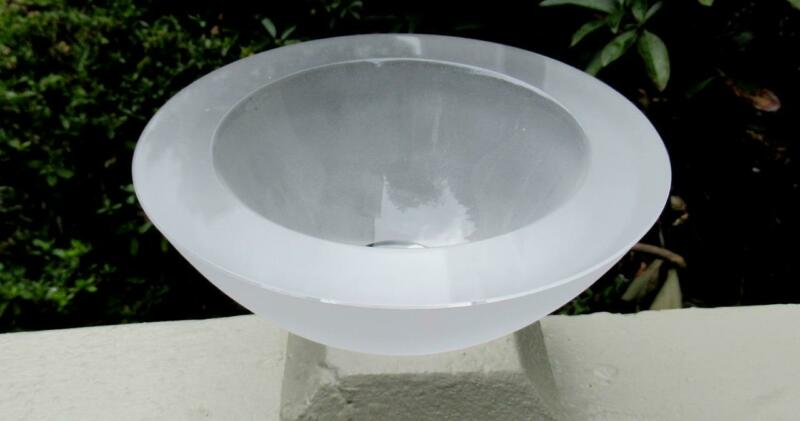 """Orrefors Heavy Frosted 1"""" Thick Glass Low Bowl by Anne Nilsson **AN 4821-11**"""