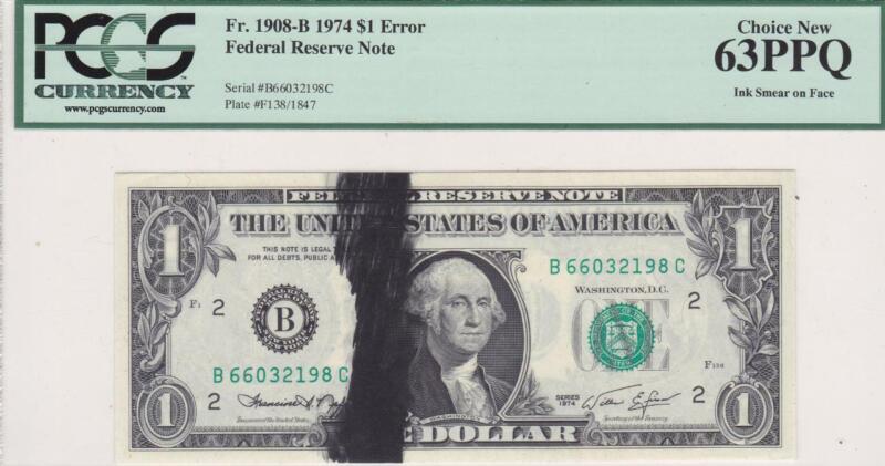Ink Smear on Face Error $1 Note PCGS 63 PPQ Choice New Fr 1908-B 1974 FRN