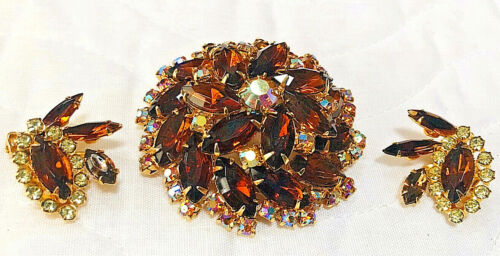 Vtg Juliana Style Brooch Pin & Clip Earrings Amber Navettes w.Aurora Borealis