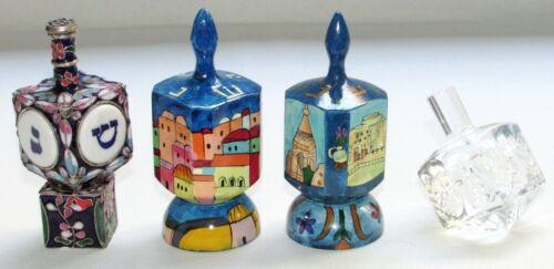 Vtg Lot of 4 Hanukkah Spin DREIDEL Judaica Collection Wood Crystal Enamel 42r