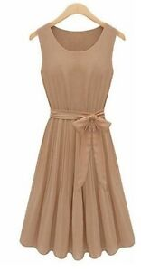 Womens Vintage Ruffle Sleeveless Casual Chiffon Cocktail Party Evening Dress SML