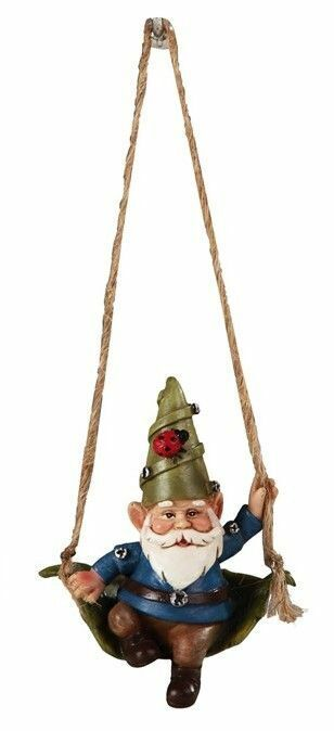 Miniature Fairy Garden Gnome w/ Blue Coat Sitting in Leaf Swing - Buy 3 Save $5