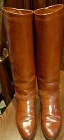 Bally Italian Leather Conker Brown Vintage Boots.