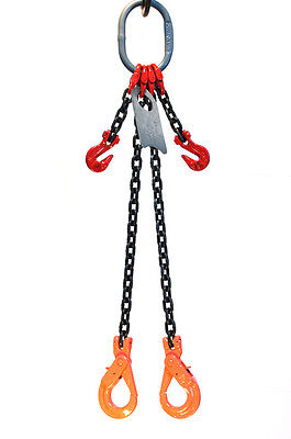 38 6 Foot Grade 80 Dopla Double Leg Lifting Chain Sling Positive Locking Hook
