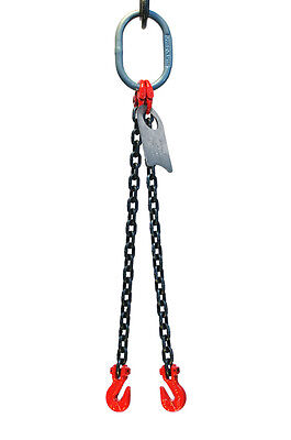 932 6 Foot Grade 80 Dog Double Leg Lifting Chain Sling - Oblong Grab Hook