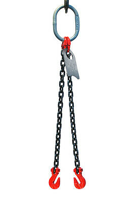 "9/32"" 6 Foot Grade 80 DOG Double Leg Lifting Chain Sling - Oblong Grab Hook"